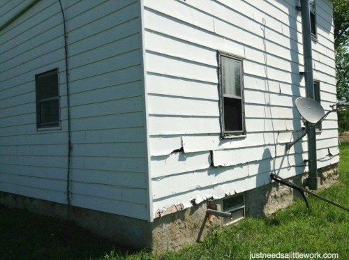Siding damage at SW corner of the house