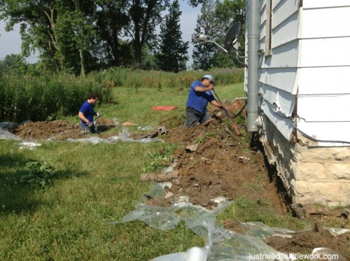 foundation digging for french drains