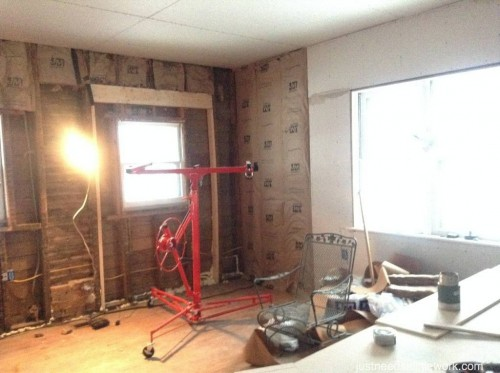 The drywall begins.
